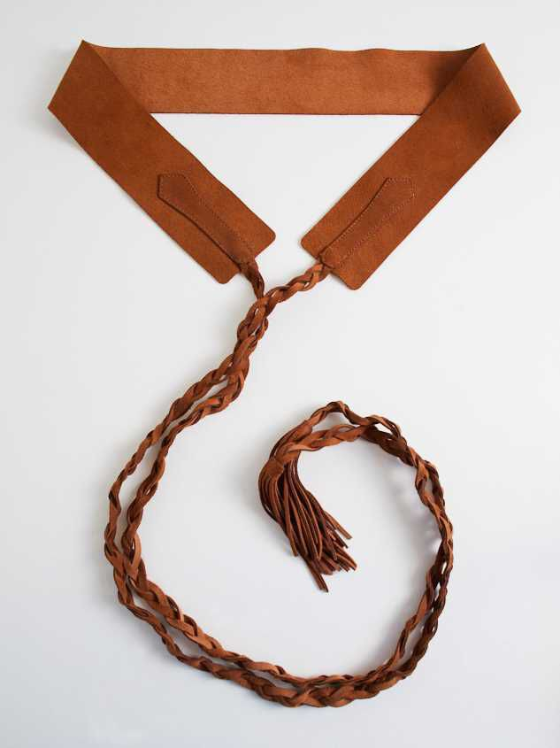 Braided Wrap Belt - Brown Detail 2 - Altar'd State
