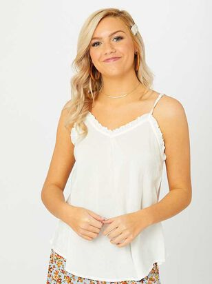 Ruffle Trim Woven Cami - Altar'd State
