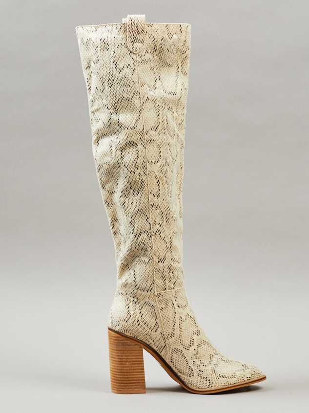 Angel Snakeskin Knee High Boots Detail 4 - Altar'd State