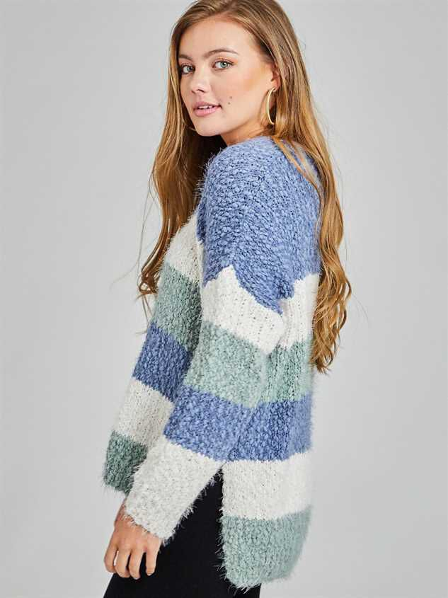Lovely Lash Tricolor Striped Sweater Detail 2 - Altar'd State