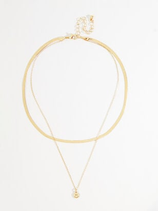 Herringbone Smiley Layered Necklace - Altar'd State