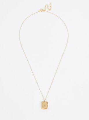 Burst Tag Monogram Necklace - V - Altar'd State