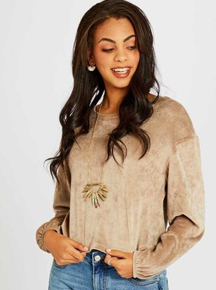 Milky Velour Balloon Sleeve Top - Altar'd State