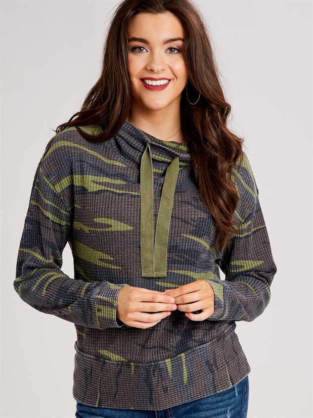 Dreamin' in Thermal Camo Cowl Neck Top Detail 2 - Altar'd State