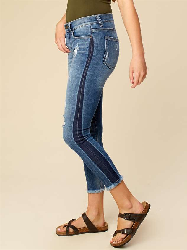 Two Tone Frayed Skinny Jeans Detail 2 - Altar'd State