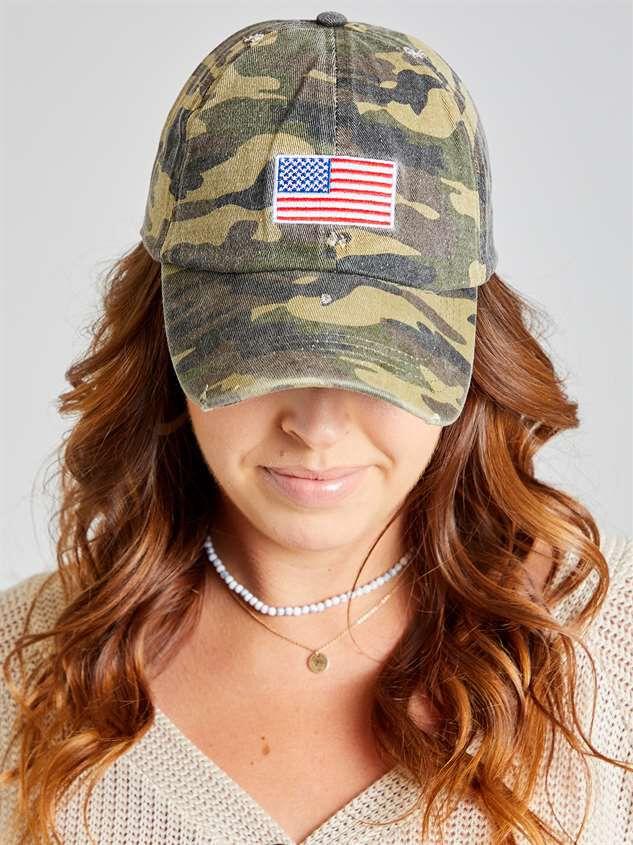 Distressed Camo Patriotic Hat Detail 2 - Altar'd State