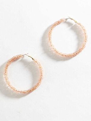 Rock Paper Wrapped Hoop Earrings - Light Pink - Altar'd State