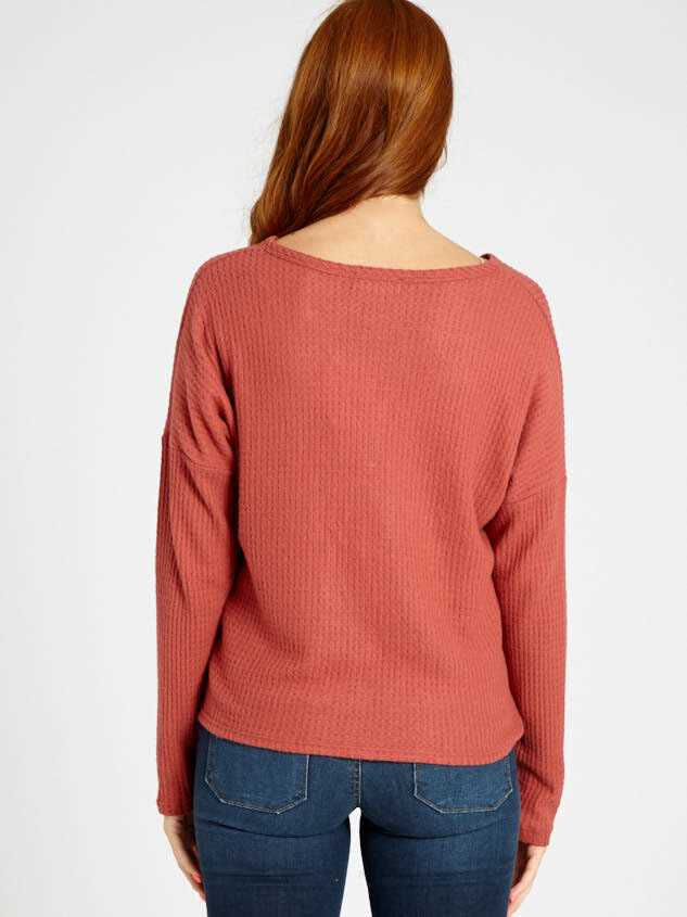 Dreamin' in Thermal Brushed Tie Front Top Detail 4 - Altar'd State