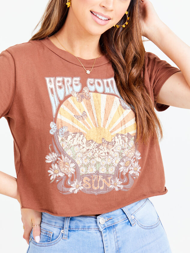 Here Comes the Sun Cropped Tee - Brown Detail 4 - Altar'd State