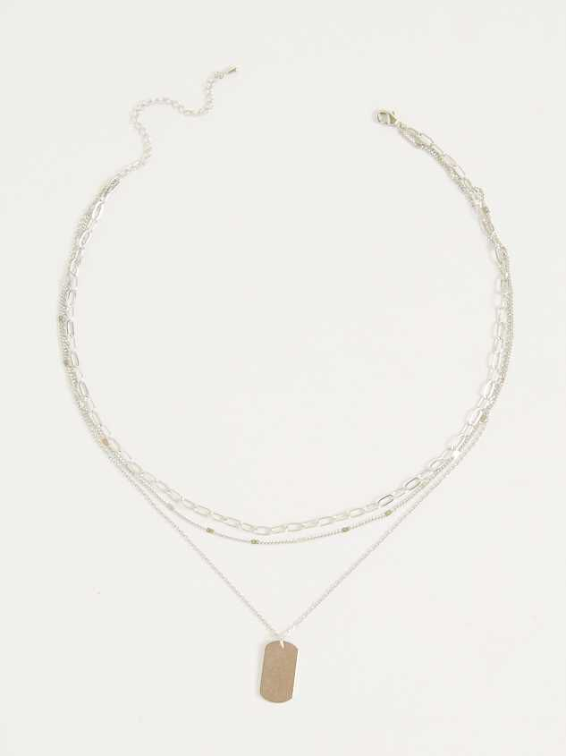 Tag Layer Necklace - Silver - Altar'd State