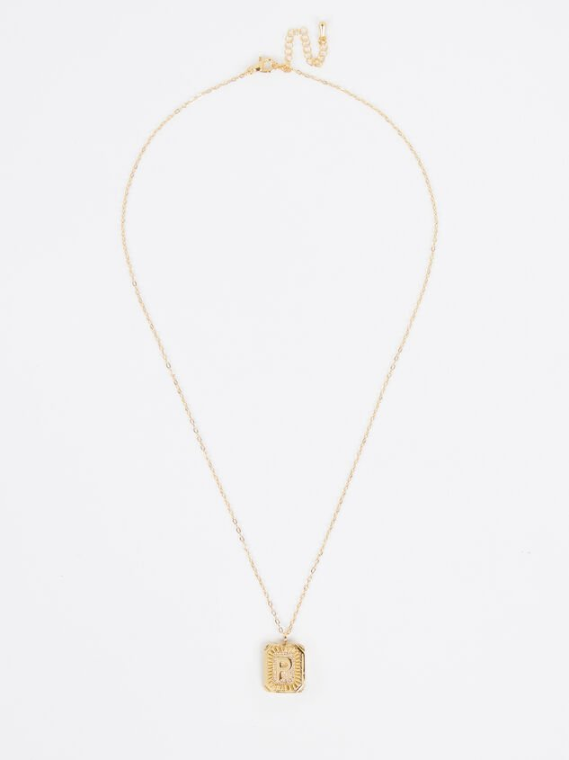 Burst Tag Monogram Necklace - P Detail 2 - Altar'd State