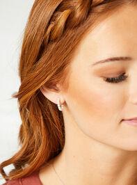 18k Gold Pearl Mini Hoop Earrings Detail 2 - Altar'd State