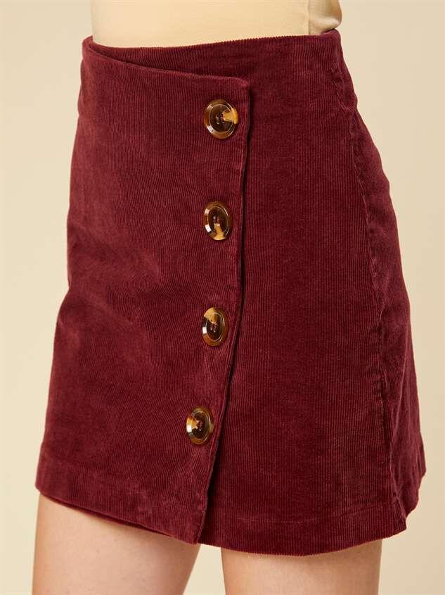 Cute as Button Cord Skirt Detail 2 - Altar'd State