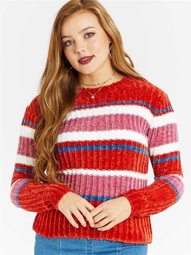 Eversoft Chenille Multi Stripe Sweater - Altar'd State