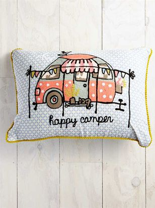 Happy Camper Embroidered Pillow - Altar'd State