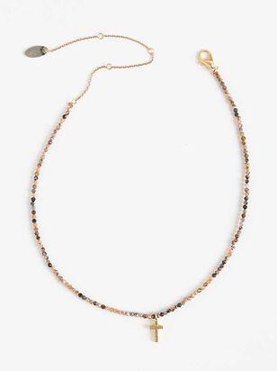 Beaded Cross Necklace - Rose Quartz - Altar'd State