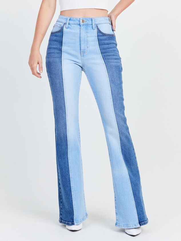 Two Toned Flare Jeans Detail 2 - Altar'd State