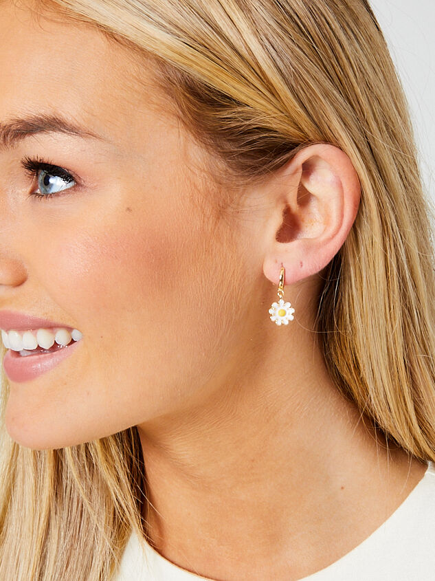 Daisy Mini Hoop Earrings Detail 2 - Altar'd State