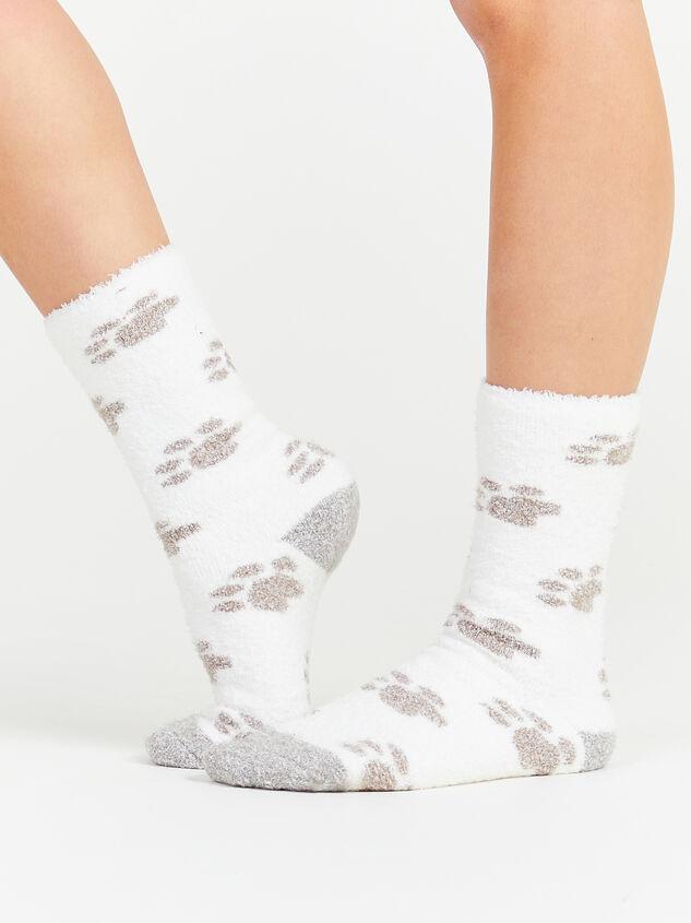 Paw Print Cozy Socks - White Detail 3 - Altar'd State