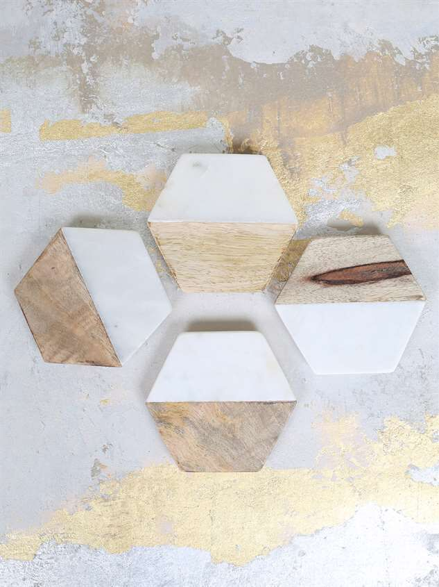 Two by Two Wood & Marble Coaster Set Detail 2 - Altar'd State