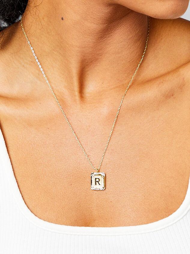 Burst Tag Monogram Necklace - R Detail 2 - Altar'd State