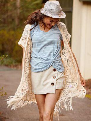 Cute as a Button Linen Skirt - Altar'd State