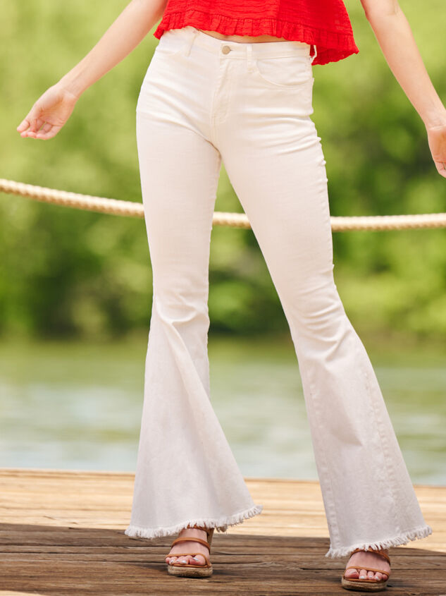 Tennley White Flare Jeans - Altar'd State