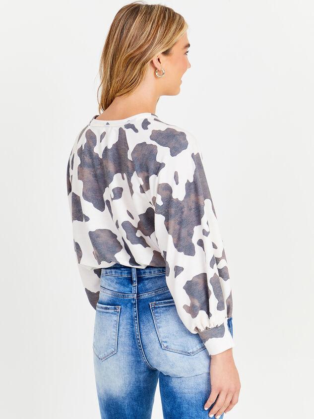 Cow Print Lightweight Sweatshirt Detail 3 - Altar'd State