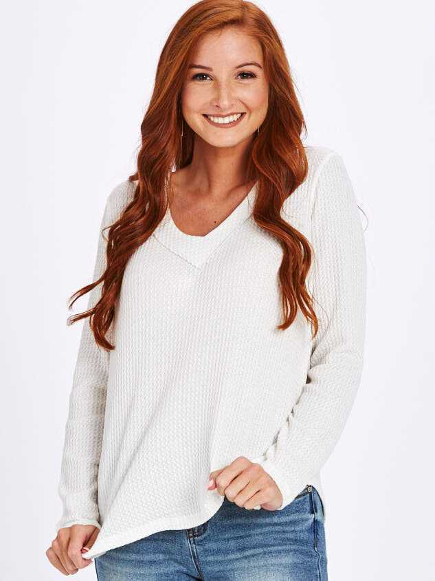 Dreamin' in Thermal Rounded Hem Top - Altar'd State