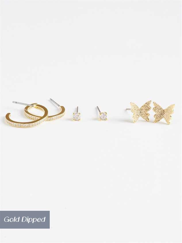 Butterflies & Diamonds Earring Set - Altar'd State