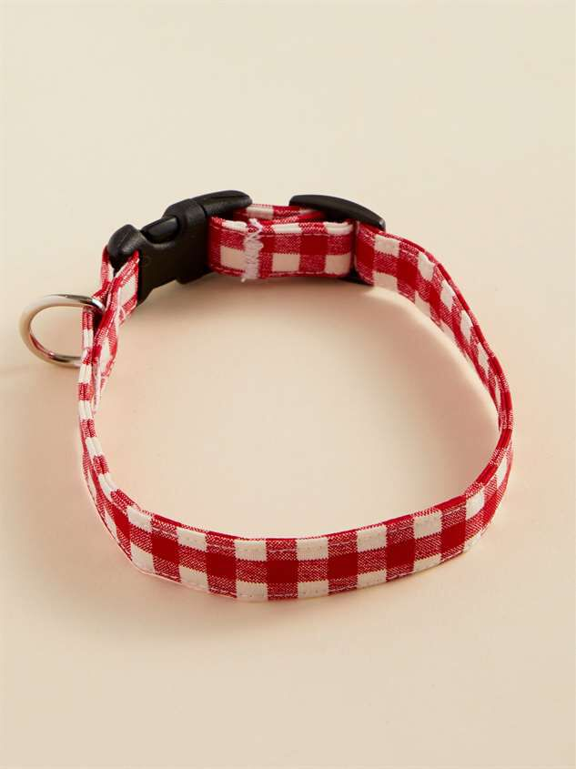 Bear & Ollie's Red Gingham Dog Collar - Small - Altar'd State