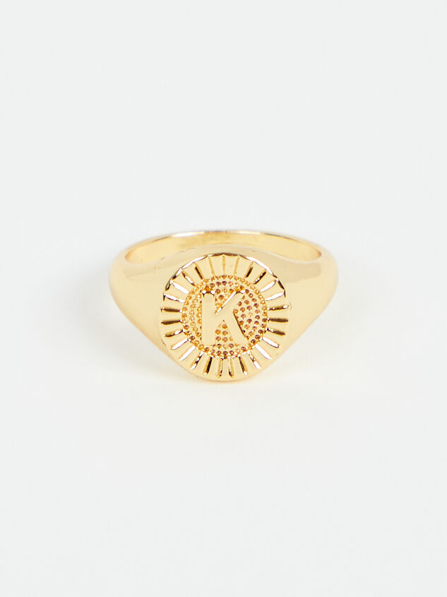 Sunburst Monogram Ring - K - Altar'd State