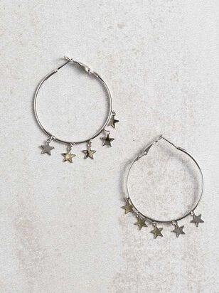 Star Charm Hoop Earrings - Silver - Altar'd State