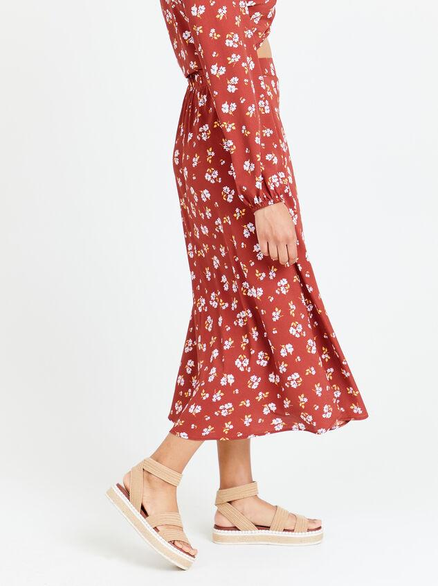 Alyson Floral Midi Skirt Detail 3 - Altar'd State