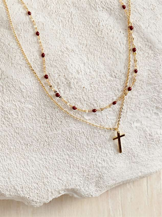 Beaded Cross Necklace - Altar'd State