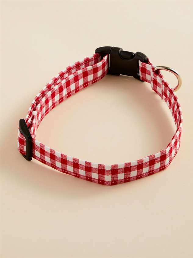 Bear & Ollie's Red Gingham Dog Collar - Large - Altar'd State