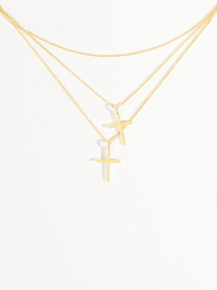 18k Gold Dipped Layered Cross Necklace - Altar'd State