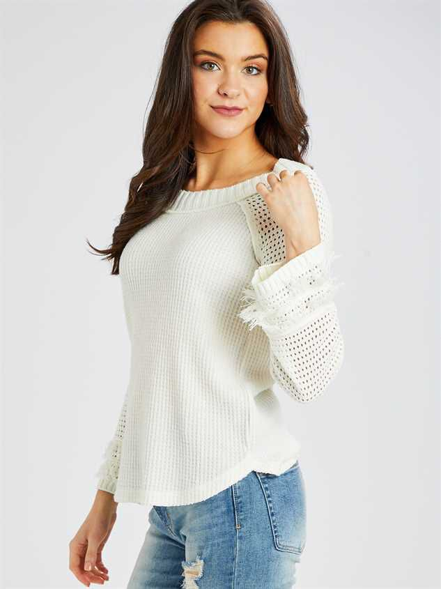 Dreamin' in Thermal Fringe Top Detail 2 - Altar'd State