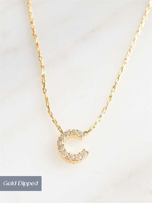 Rhinestone Initial Necklace – C - Altar'd State