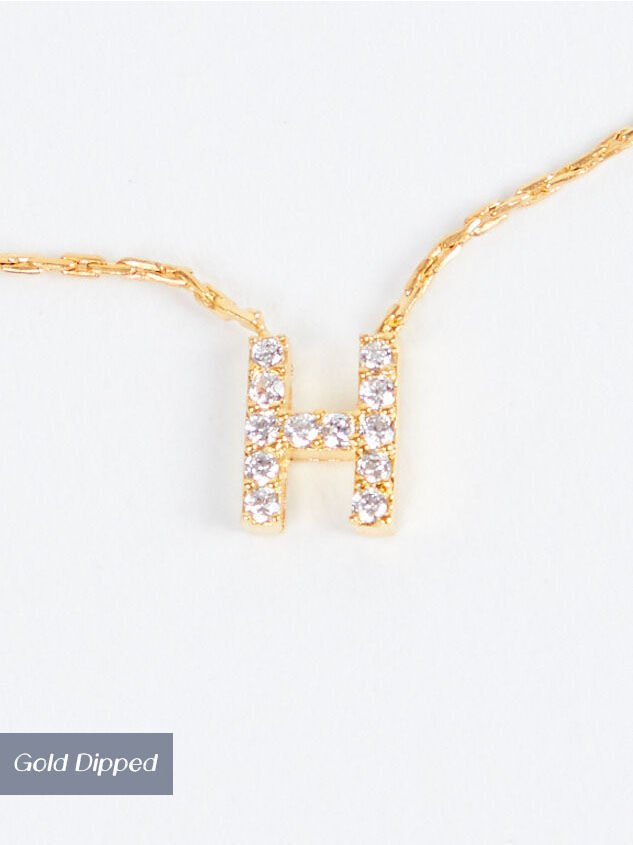 Rhinestone Initial Necklace – H - Altar'd State