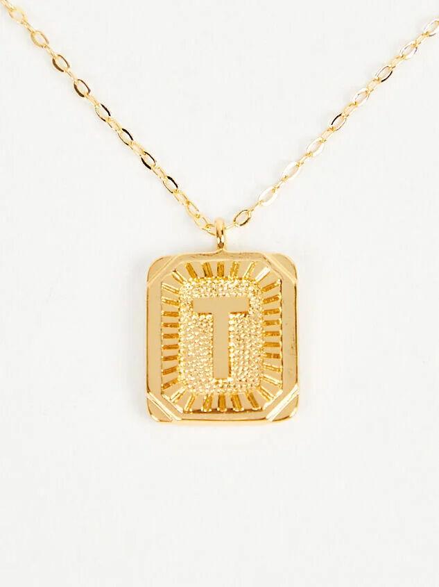 Burst Tag Monogram Necklace - T - Altar'd State