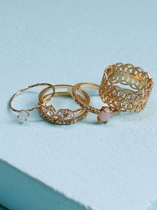 Special Occasion Stone Filagree Ring Set - Altar'd State