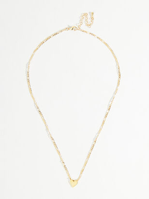 Textured Chain Heart Necklace - Altar'd State