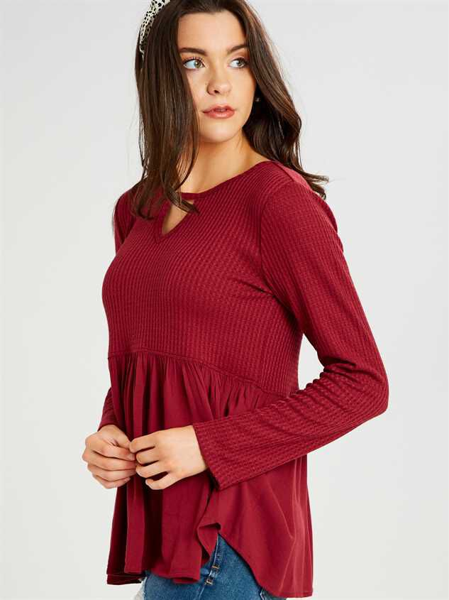 Dreamin' In Thermal Peplum Top Detail 2 - Altar'd State