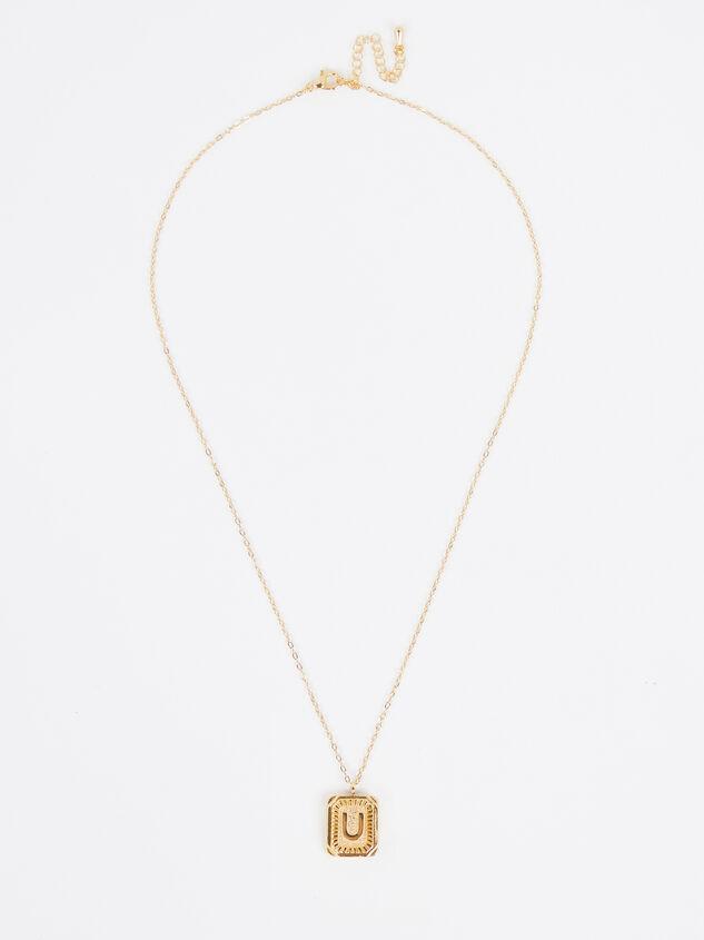 Burst Tag Monogram Necklace - U Detail 2 - Altar'd State