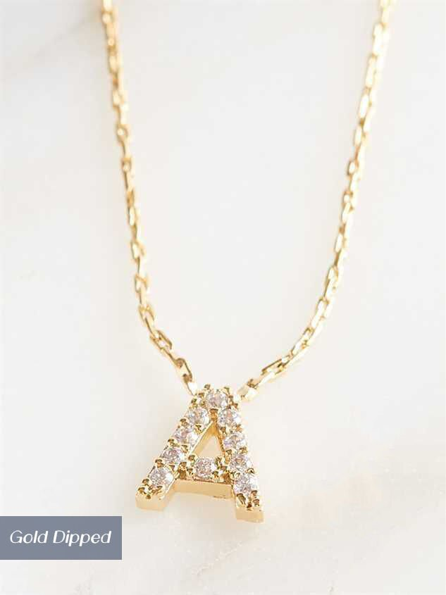Rhinestone Initial Necklace – A - Altar'd State