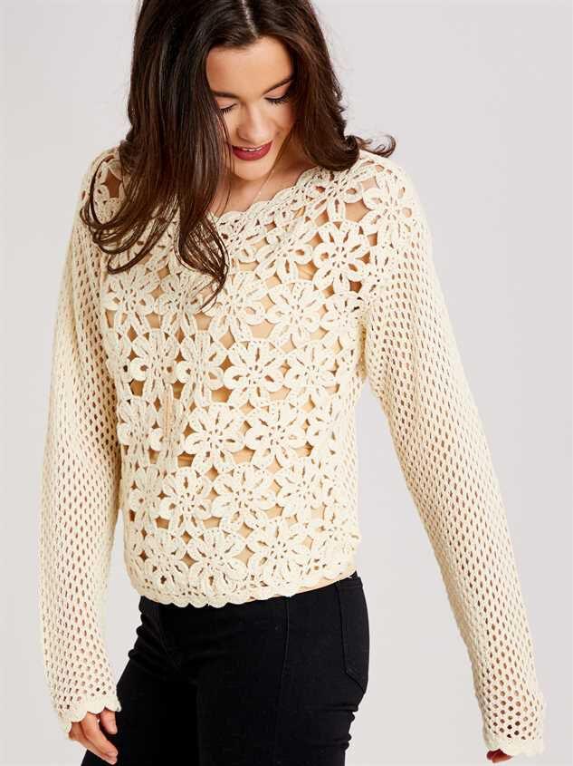 Crochet Daisy Sweater Detail 2 - Altar'd State