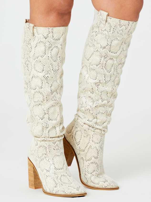 Angel Snakeskin Knee High Boots - Altar'd State