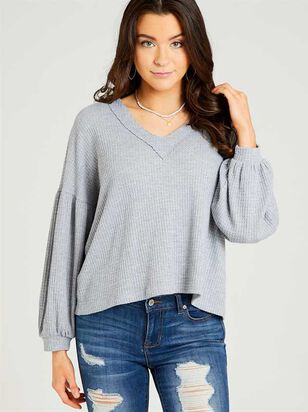 Dreamin' in Thermal Balloon Sleeve Top - Altar'd State