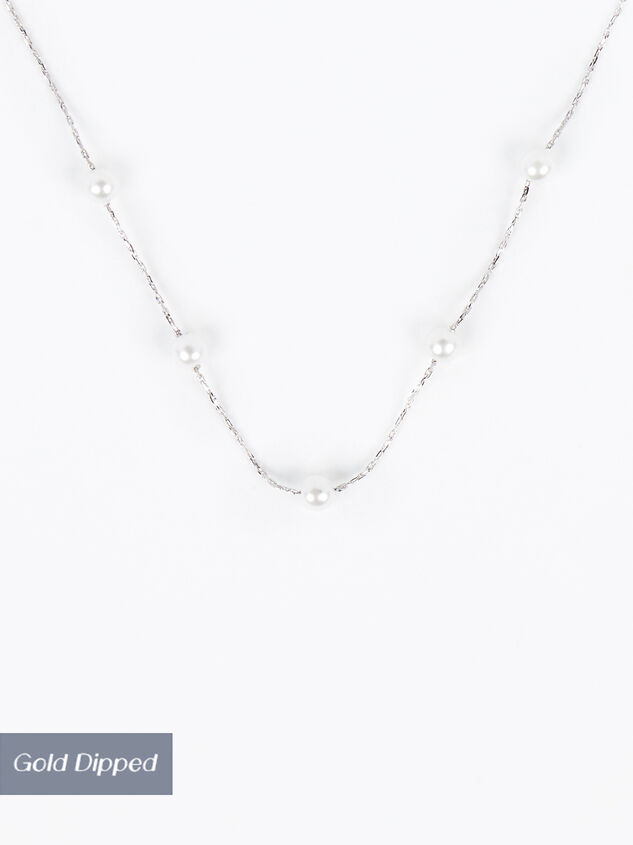 18k White Gold Pearl Charm Necklace Detail 1 - Altar'd State